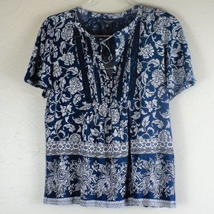 LUCKY BRAND Blue & White Floral Tie Front Boho Top